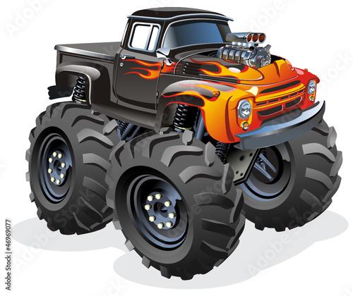 Foto op Canvas Cars Vector Cartoon Monster Truck