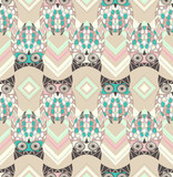 Cute owl seamless pattern with native elements - 46976477