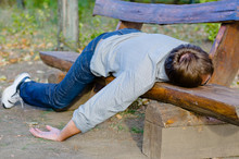 Drunk Man Sleeping In Park