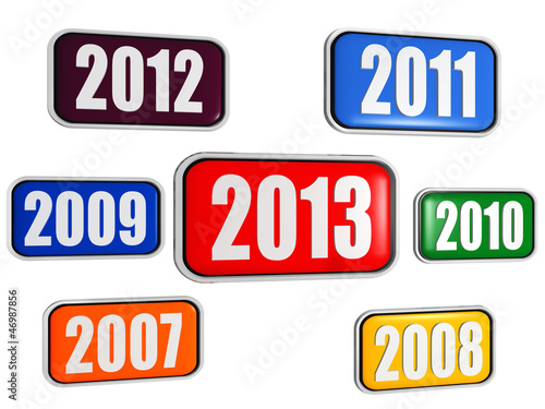 Fotografia  new year 2013 and previous years in colored banners