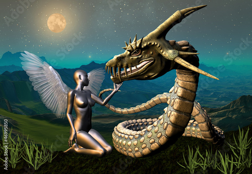 Foto op Canvas Draken Dragon & Angel - Fantasy Scene