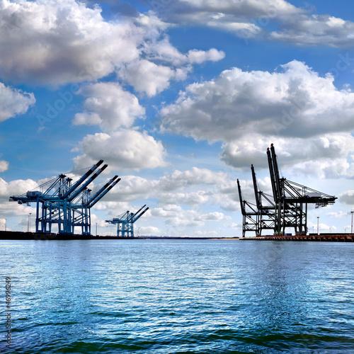 Canvas Prints Bridge Cargo sea port. Sea cargo cranes.