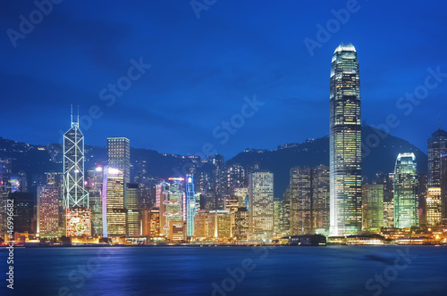 Hong Kong, Victoria Harbor at night. Poster