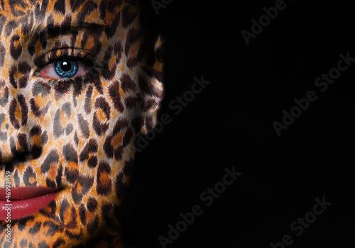 Spoed Foto op Canvas Puma Gepard pattern on woman face