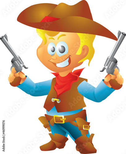 Deurstickers Wild West Small cowboy