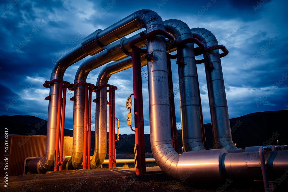 Fototapety, obrazy: geothermal energy pipeline