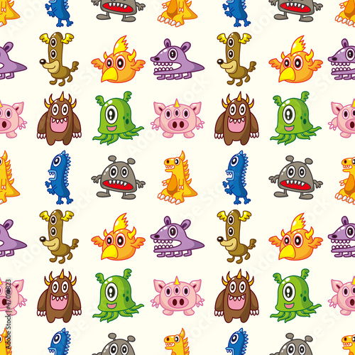 Aluminium Prints Creatures seamless monster pattern
