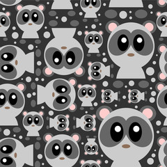 Fototapeta Seamless pattern with cute baby pandas