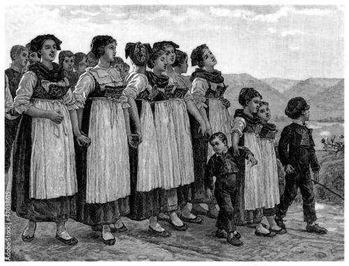 Peasant Girls - 19th century Canvas Print