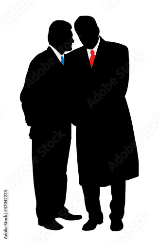 Two businessmen discreet conversation, telling a secret Fototapeta