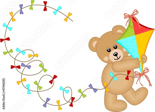 Poster Ours Teddy Bear with Kite Wind