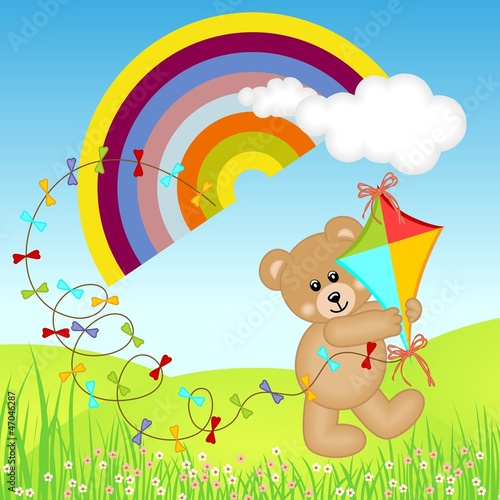 Wall Murals Bears Teddy Bear with Kite Wind on Rainbow