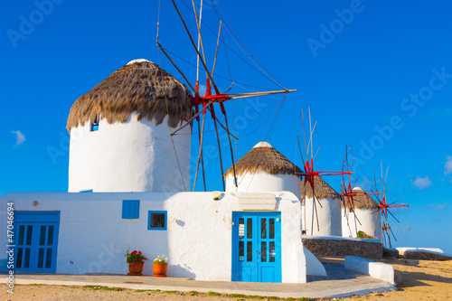 Close on the first of the windmills in Mykonos island cyclades G