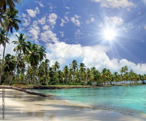 Foto-Kissen - Karibischer Traumstrand: Samana in der Dominikanischen Republik (von doris oberfrank-list)