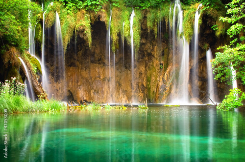 Keuken foto achterwand Watervallen Beautiful waterfalls at Plitvice Lakes National Park