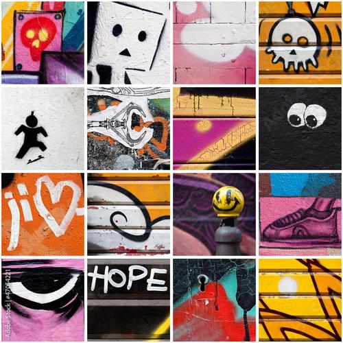 Deurstickers Graffiti collage Street Art 3