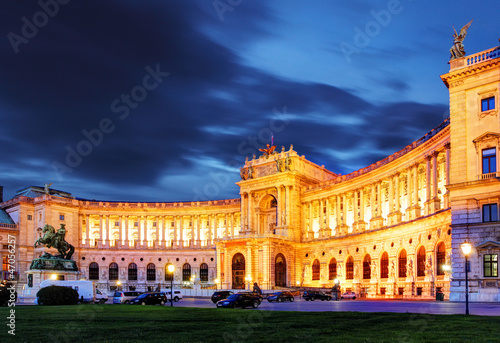 Vienna Hofburg Imperial Palace at night, - Austria Poster