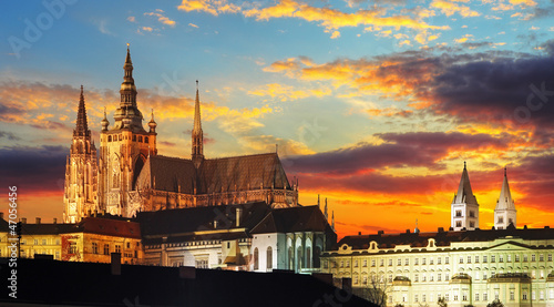 Garden Poster Prague Prague Castle at sunset - Czech republic