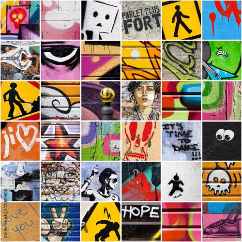 Deurstickers Graffiti collage Square Street Art