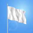 Vector blank white flying flag on a clear sky for designers.