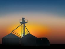 Grain Silo In The Sunset