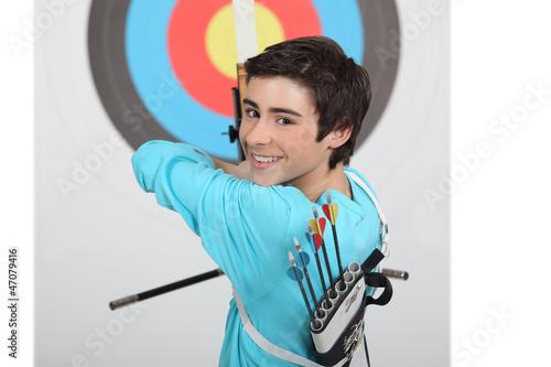 Cuadros en Lienzo A kid shouting arrows.