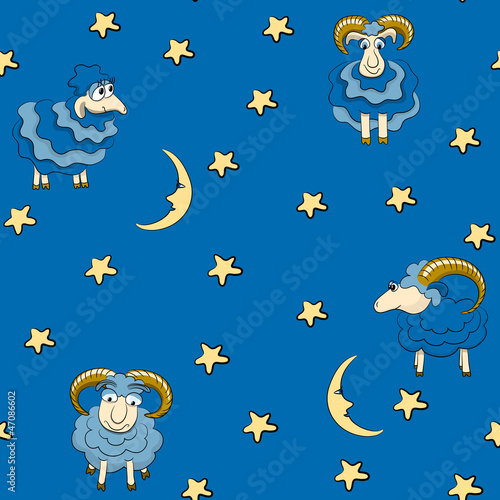 Recess Fitting Heaven Seamless pattern with sheep for good dreams