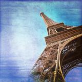 Kolor vintage wieży Eiffla - 47092630