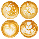 Fototapeta Kawa jest smaczna - Latte Art, coffee in white background