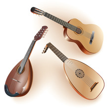 Set Of Musical Instruments Of The String Family