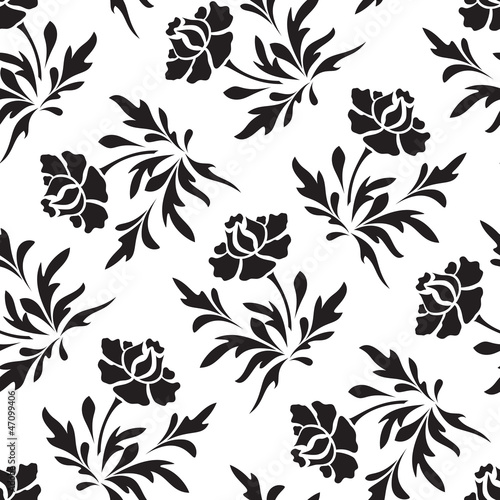 Poster Bloemen zwart wit Black and white seamless floral pattern