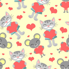 Cute romantic seamless pattern cat and mouse