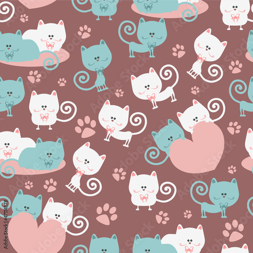 Cats in love cute seamless pattern