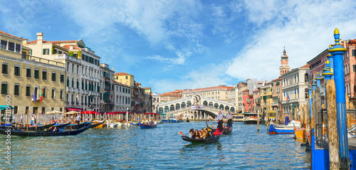 Poster Venise Venice, View from Rialto Bridge. Italy.