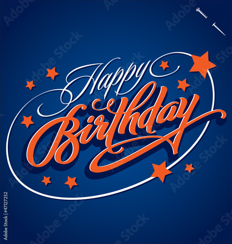 Photo  HAPPY BIRTHDAY hand lettering (vector)