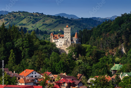 The Bran Castle and Bran city Poster