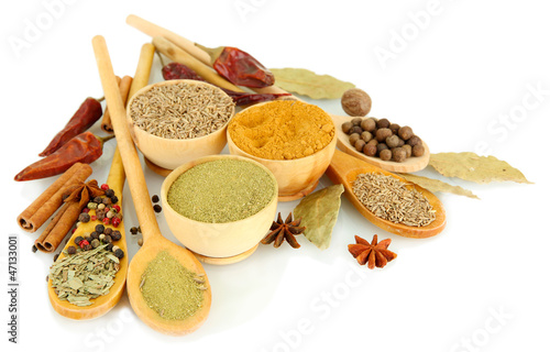 Photo Stands Herbs 2 wooden bowls and spoons with spices, isolated on white