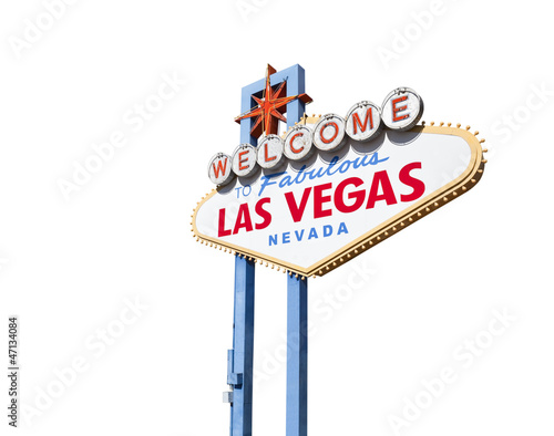 Leinwand Poster  Welcome to las Vegas Sign Isolated with Clipping Path