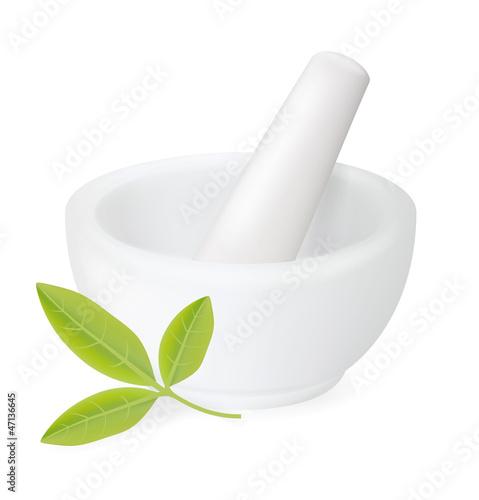 Obraz na płótnie Healing herbs in white ceramic mortar