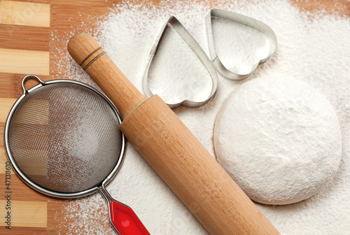 Fotografie, Obraz  Baking in the shape of a heart and the dough