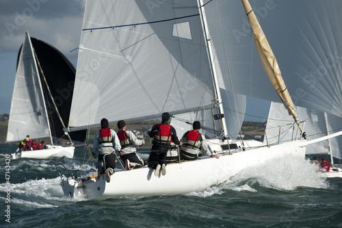 Fotografie, Obraz  team skipper on yacht at regatta
