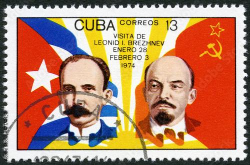 Fotografie, Obraz  CUBA - 1974: shows Jose Marti, Vladimir Lenin, flags