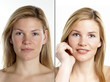 canvas print picture - Portrait einer jungen Frau mit und ohne Make up