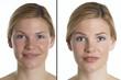 canvas print picture - Frauenportrait mit und ohne Make up