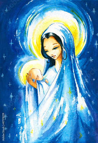 Nativity sceneMary with the young Jesus in her arms.Watercolors.