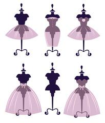 Naklejka vector collection of wedding dresses