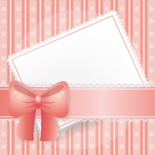 Pink Card In Vector Background With Lace, Ribbons And Bows