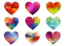 Colorful Hearts With Geometric...