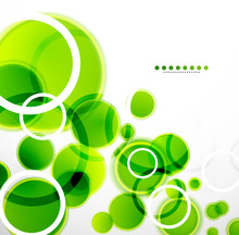 Abstract Shapes Vector Background: Green Bubbles