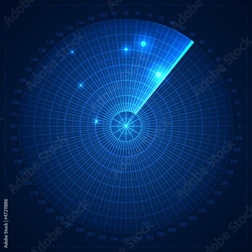 Photo  Blue radar screen